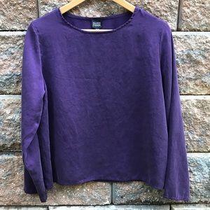 Eileen Fischer 100% Silk Purple Long Sleeve Top